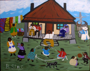 """Big Daddy's House at Hickory Hill"" c. 1996 by Bernice Sims	acrylic on canvas 	24"" x 30"" 	black frame 	$1500 (11363)"