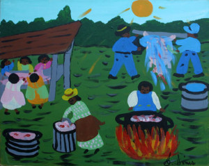 """Hog Killing Time""  by Bernice Sims	acrylic on canvas 	16"" x 20"" 	black frame 	$800 (11373)"