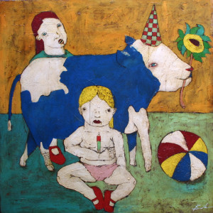 """Blue Cow Girls"" c. 2002  by Michael Banks  acrylic, mixed media on canvas  41"" x 41"" x 2""  unframed  $3200   #11449"
