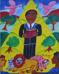 """""""Martin Luther King and Bible"""" dated 2003 by Malcah Zeldis  oil on board 8"""" x 10"""" in black floater frame  $800 #10534"""