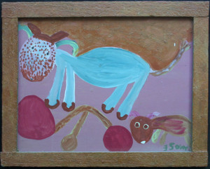"""Horse and Her Baby""  c. 1976  by Mose Tolliver    with electrical wire hanger in artist's original frame  oil paint on wood   16.5"" x 20.5"" #11452   $3200"