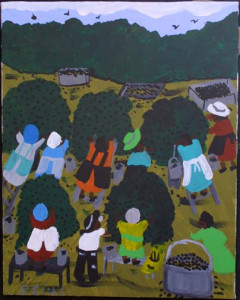 """""""Blueberry Picking Time""""  c. 1998 by Bernice Sims  20"""" x 16"""" in black frame $800  #8447"""