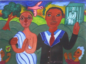 """""""Martin Luther King & Gandhi """"   by Malcah Zeldis  dated '03  oil on press board  8.25"""" x 11 1/8""""  archival white mat, black frame  $950  #9135"""