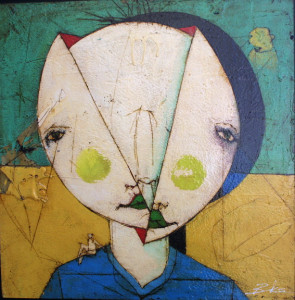 """Unchanged""  by Michael Banks  mixed media on wood  24"" x 24"" in black floater shadowbox frame  $1200      #9541"