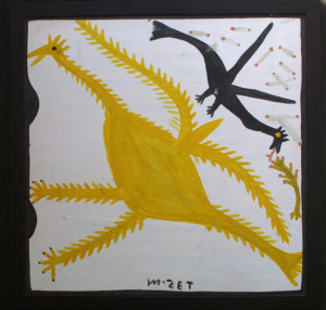 """Two Birds"" by Mose Tolliver	house paint on wood 	24"" x 24"" -  26"" x 26"" framed 	in black 1"" flat frame 	Was $1000  On Sale Now $850"