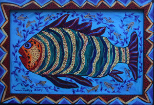 """Pondfish in Deep Water"" by Sarah Rakes  10.75"" x 16""  acrylic on wood panel & wood frame  $320  #11215"