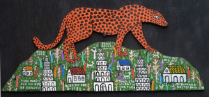 """Cheetah on the Mountain"" by Howard Finster  #7270  dated Feb 8, 1988  enamel paint on wood cutout  11"" x 27""  $9000"