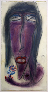 """""""Holding a Flower""""  dated 1994 by Thornton Dial  pastel, colored pencils on paper  14.25"""" x 7.5"""" in white mat in small mahogony frame, white mat  $2500 #11320"""