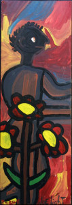 """Africian"" dated 8-31-92 by Joe Light	enamel paint on plywood 	32"" x 11.25"" 	u 	$5000u (11322)"