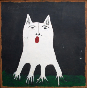 """Toto"" c. 1994 by Jimmie Lee Sudduth  mud, acrylic on wood  24.5"" x 24"" in black shadowbox frame  $1200   #11426"