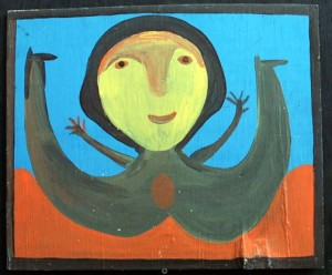 """Mup Lady"" by Mose Tolliver c. 1976   oil paint on wood   15"" x 18""  $1000"