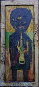 """Jazz Musician""   c. 2004  by Michael Banks  mixed media on wood with found object frame 49.75"" x 22""  $2500  #11267"