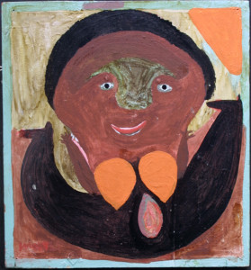 """Oyster Girl""  c. 1974 by Mose Tolliver with original hanger  oil paint on wood    17.75"" x 16.5""  $4800   #11436"
