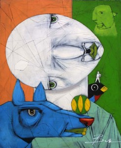 """""""The Relationship"""" by Michael Banks  acrylic, mixed media on wood   24"""" x 19.75""""  in black shadowbox frame  $950   #11463"""