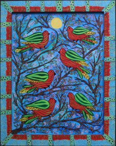 """Song Bird Gathering"" by Sarah Rakes  acrylic on wood   27.5"" x 22"" in artist's handmade wooden painted frame  $975  #11471"
