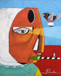 """""""Icon State"""" by Michael Banks,  acrylic, mixed media on wood 24"""" x 19 5/8"""" in black shadowbox frame $900  #11468"""