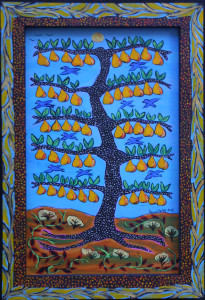 """Blue Birds and Ripe Pears"" by Sarah Rakes acrylic on wood panel and wood frame  12.75"" x 8.75""  $275   #11539"
