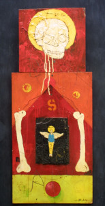 """Skeleton S"" by Michael Banks  mixed media on wood   35"" x  14.5"" irr  unframed   $700    #9520"